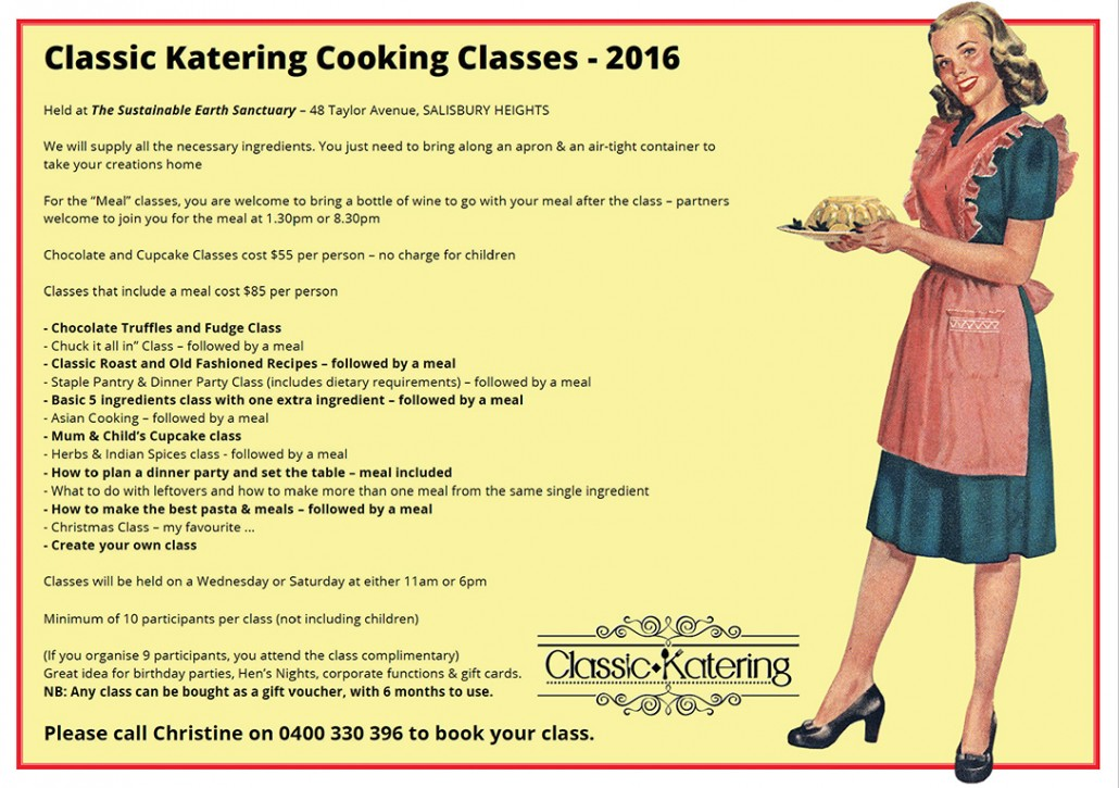 Classic Katering Cooking Classes 2016